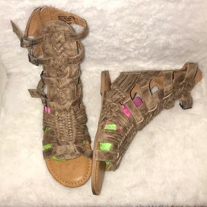 Brown high top gladiator sandals